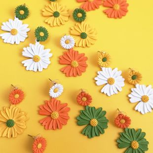 Korean fashion spray paint chrysanthemum earrings nihaojewelry wholesale NHJJ212317's discount tags