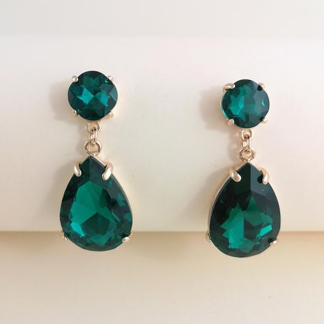 New green drop-shaped glass diamond inlaid alloy electroplating new stud earrings NHJJ212335's discount tags