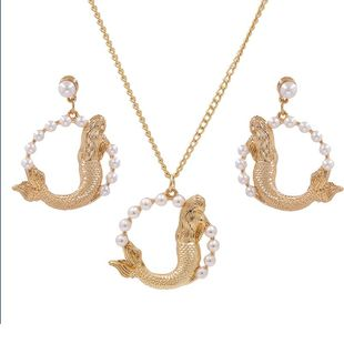New fashion fish-shaped necklace geometric round pearl necklace earrings NHJJ212337's discount tags