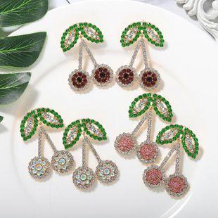 Nuevos pendientes de cereza de fruta de diamante de moda Pendientes de fruta para mujer NHJQ212356's discount tags