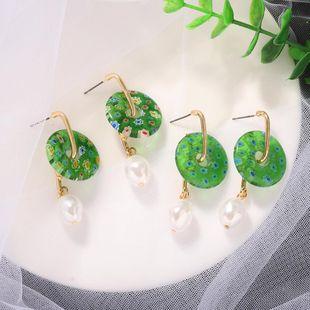 New Fashion Bohemian Plate Earrings Acetate Print Pearl Earrings NHJQ212367's discount tags
