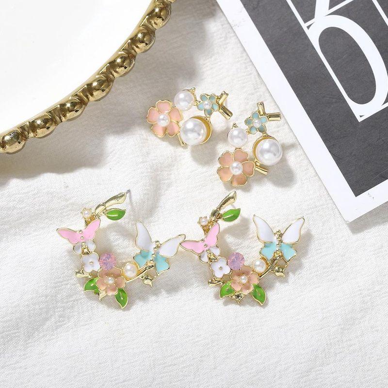 New Fashion Bohemian Pearl Flower Earrings for women NHJQ212371