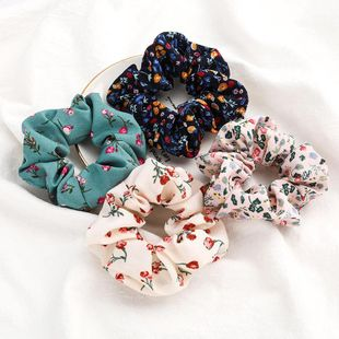 New fashion retro floral rose fabric cheap scrunchies wholesale NHJE212379's discount tags