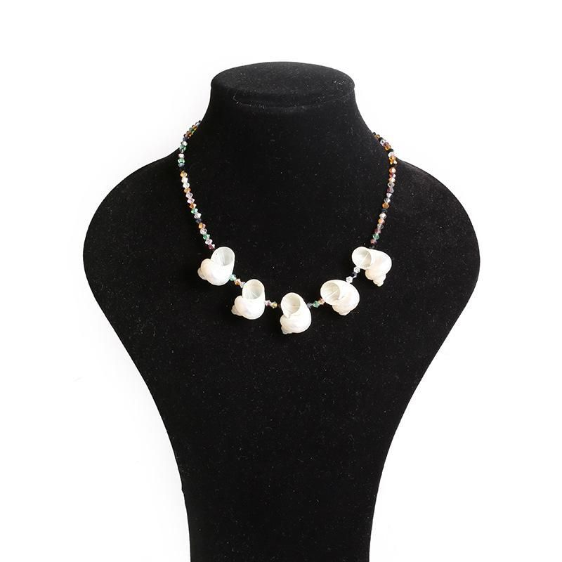 Summer beach natural shell conch pendant simple color crystal necklace wholesale NHLN212397