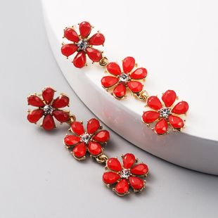 New fashion creative flower earrings alloy diamond bohemian earrings long tassel earrings NHLN212402's discount tags