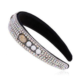 New fashion rhinestone headdress full diamond wide-brimmed headband diamond retro vintage headband wholesale NHVA212423's discount tags