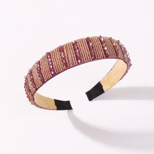 Korean new style crystal headband fashion wide side beaded cheap headband wholesale NHMD212445's discount tags