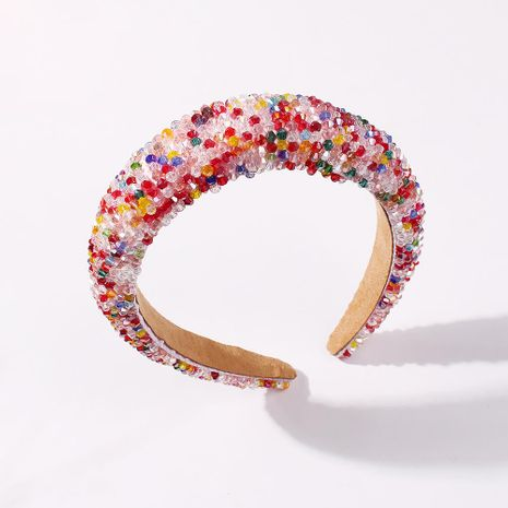 New fashion thick sponge hair band handmade crystal beaded color cheap hair band wholesale NHMD212447's discount tags