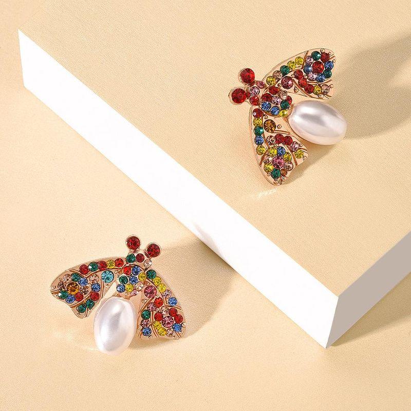 New alloy pearl earrings fashion geometric animal bee color diamond earrings NHMD212467