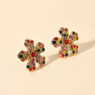 Korean new fashion color flower earrings geometric five petal flower diamond earrings NHMD212471's discount tags