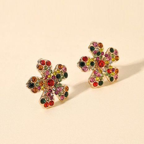 Korean new fashion color flower earrings geometric five petal flower diamond earrings NHMD212471's discount tags