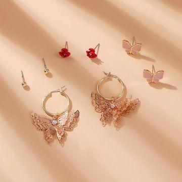 Korean new fashion alloy earrings set hollow butterfly diamond rose earrings NHMD212472
