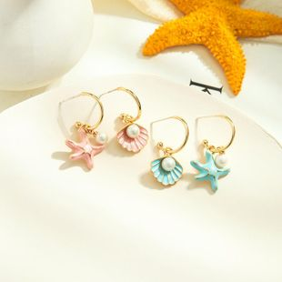 New fashion enamel glaze earrings s925 silver needle wild pearl sweet starfish shell earrings NHQD212485's discount tags