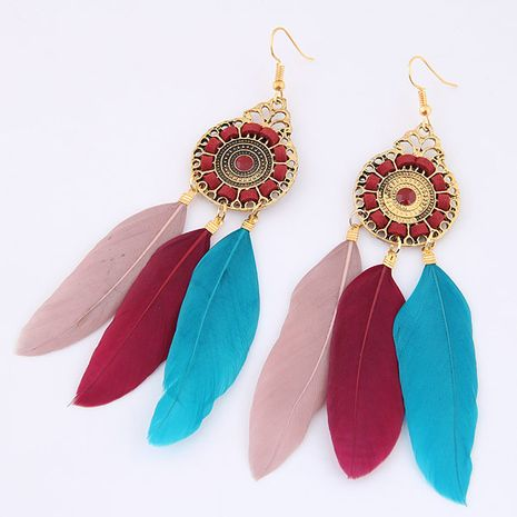New fashion metal simple and elegant feather earrings nihaojewelry wholesale NHSC212714's discount tags
