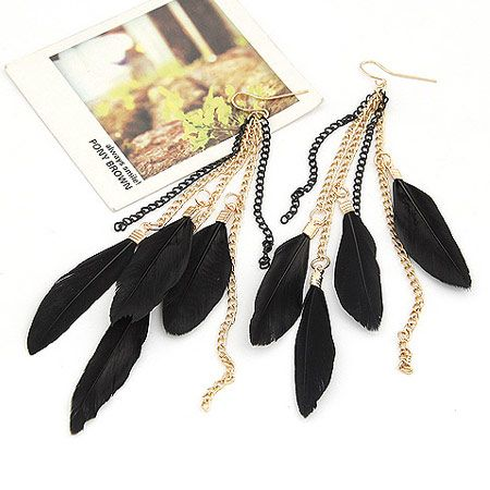 Korean new fashion elegant feather earrings nihaojewelry wholesale NHSC212713's discount tags