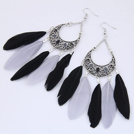 New fashion metal retro water drop elegant feather earrings nihaojewelry wholesale NHSC212711's discount tags