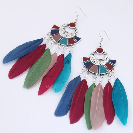 New fashion fan-shaped simple and elegant feather earrings nihaojewelry wholesale NHSC212710's discount tags