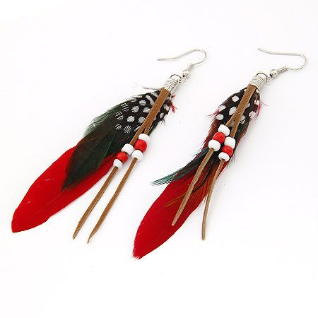 Korean fashion beaded feather earrings nihaojewelry wholesale NHSC212709's discount tags