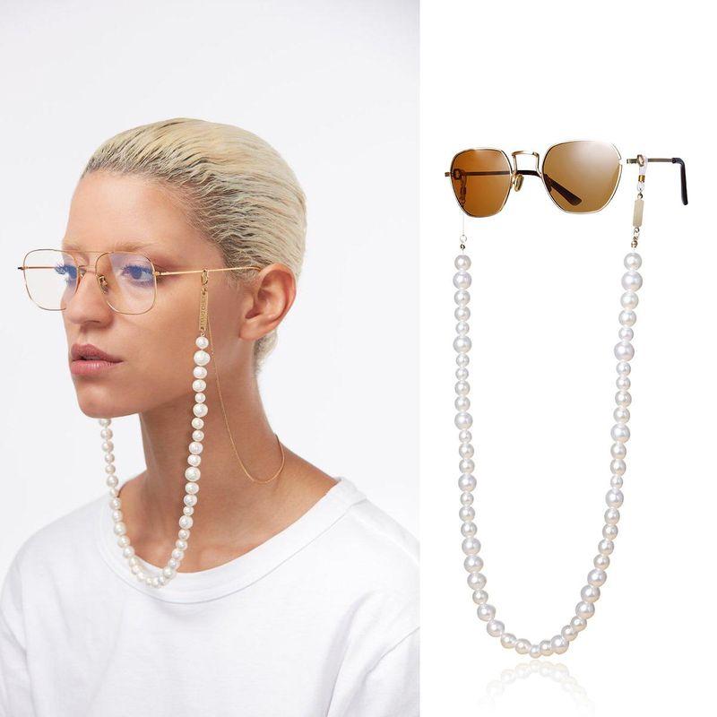 Fashion jewelry U-shaped geometric tassel glasses chain wild imitation pearl handmade fashion jewelry wholesale Nihaojewelry NHXR211848