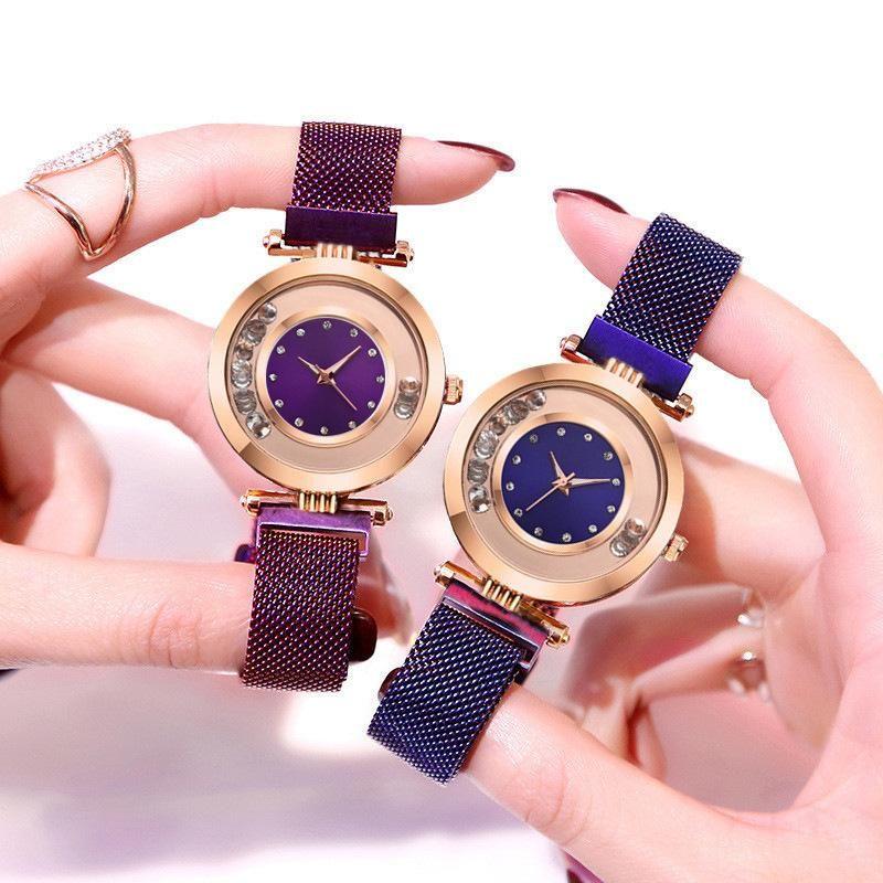 Diamond Ball Quartz Lady Bracelet Watch Magnet Magnet Milan Mesh Belt Watch Women Fashion Women's Watch NHSS211913