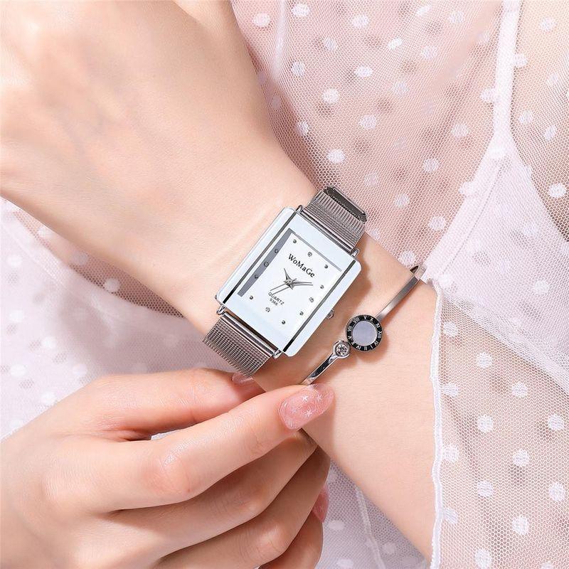 Mesh belt couple watch fashion simple style rectangular dial silver mesh belt quartz watch wholesale Nihaojewelry NHSY211929