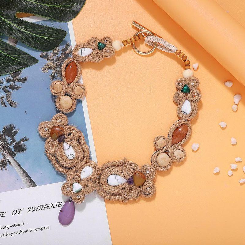 New fashion jute woven artificial gemstone terrazzo diamond dress party necklace NHJQ212354
