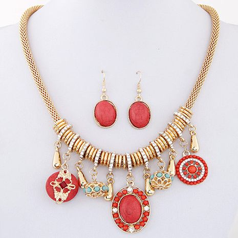 New fashion wild bohemian turquoise necklace earring set nihaojewelry wholesale NHSC212697's discount tags