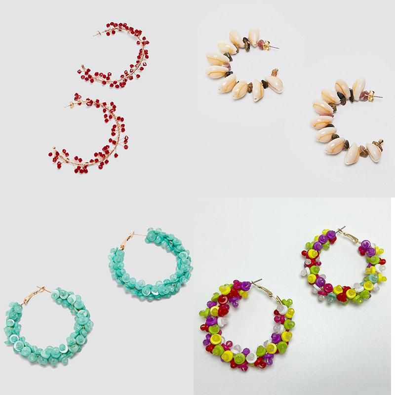 New fashion geometric hand-woven C-shaped rice beads bohemian shell earrings nihaojewelry wholesale NHLA212546