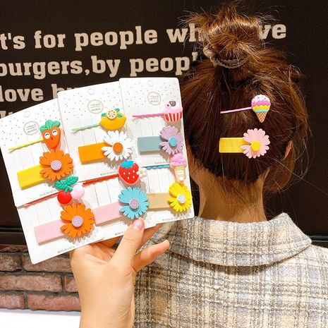 New hairpin female Korean cute daisy word clip girl side clip children fruit bb clip hairpin NHSA212550's discount tags