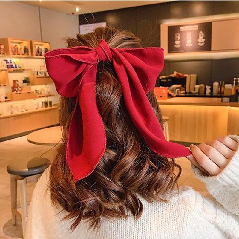 Red bow hair accessories Korean simple girl cheap scrunchies wholesale NHDQ212552