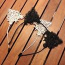 Black lace cat ear headband cute sweet sexy thin edge cheap headband wholesale NHDQ212561