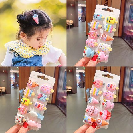 New cute cream ice cream cheap hairpin set wholesale NHNA212565's discount tags