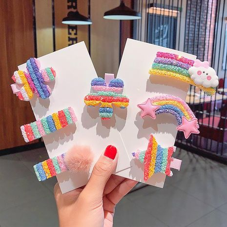 New cute rainbow series small sequins cloud rainbow hairpin set wholesale NHNA212566's discount tags