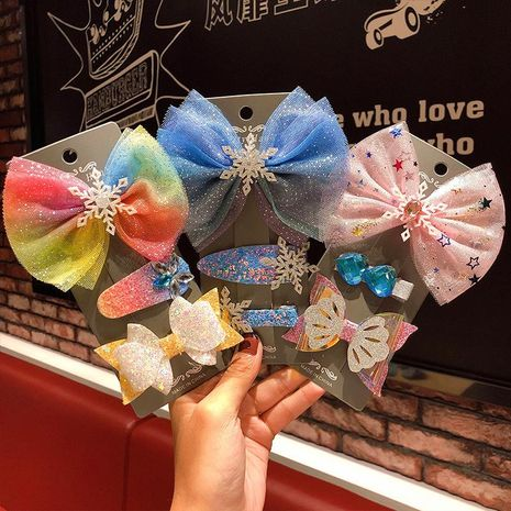 New fashion simple snowflake bowknot large cheap hairpin set wholesale NHNA212581's discount tags
