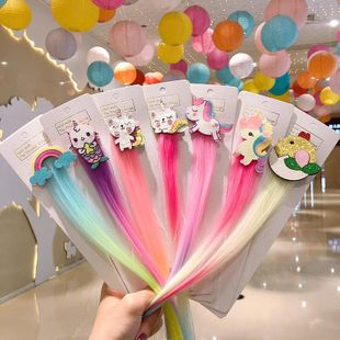 Korean new children's cartoon wig hairpin cute unicorn hairpin wholesale NHNA212590's discount tags