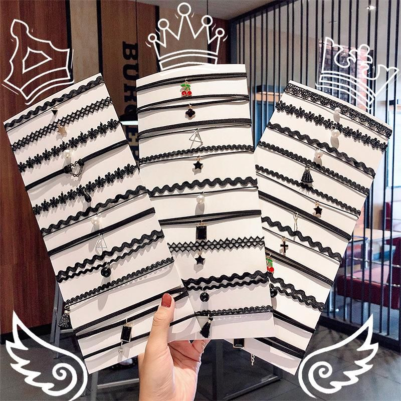 Clavicle chain new fashion black lace braided clavicle chain wholesale NHNA212606