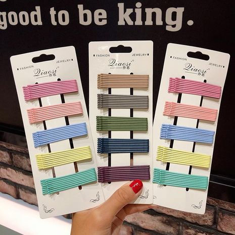 Frosted candy color word clip simple cheap hairpin set wholesale NHNA212610's discount tags