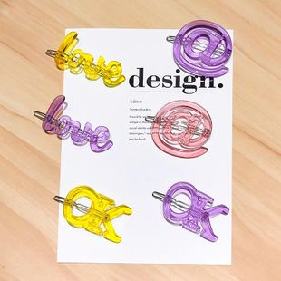New fashion candy color letter hairpin transparent section English OK card wholesale NHNA212616's discount tags