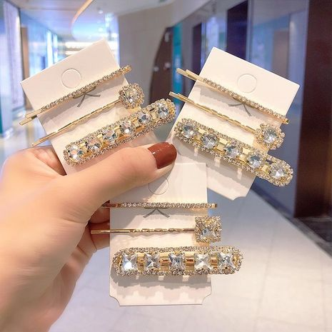 Korean new stunning rhinestone word clip fashion diamond hair clip set wholesale NHNA212629's discount tags