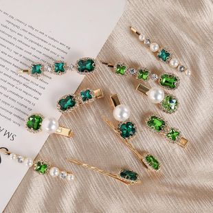 Retro Pearl Rhinestone Hair Clip Green Series Simple Hair Clip Set Wholesale NHNA212634's discount tags