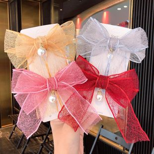 South Korea's new double-layer lace bow hairpin transparent mesh pearl pendant hairpin wholesale NHNA212637's discount tags