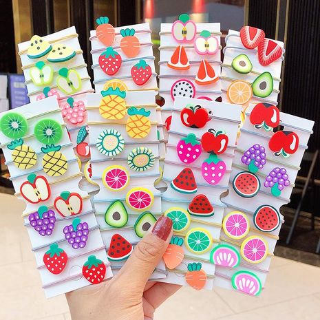 New fashion cute acrylic vegetables and fruits cheap scrunchies set wholesale NHNA212639's discount tags
