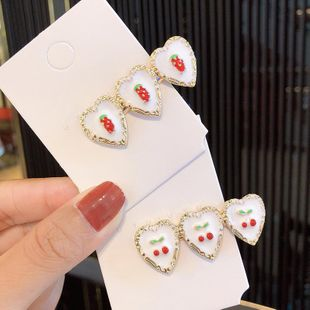 New cute sweet strawberry cherry alloy cheap hairpin wholesale NHNA212647's discount tags