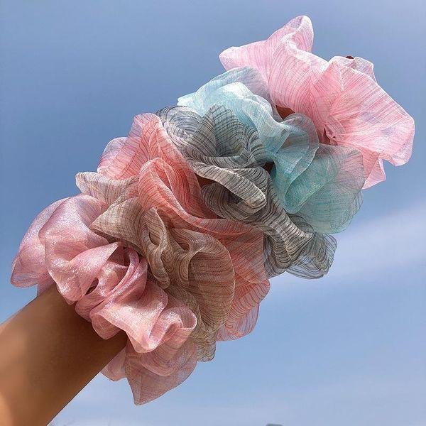 New fashion oversized transparent mesh gradient cheap scrunchies wholesale NHNA212649
