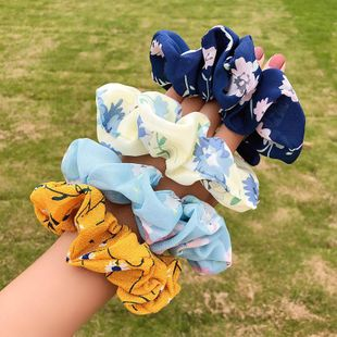 Korean new fashion floral fabric cheap scrunchies wholesale NHNA212653's discount tags