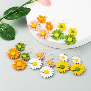Korean new fashion simple small daisy earrings contrast color alloy flower earrings NHLN212670's discount tags