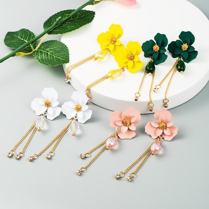 Korean summer new fashion flower crystal long tassel alloy diamond earrings NHLN212679