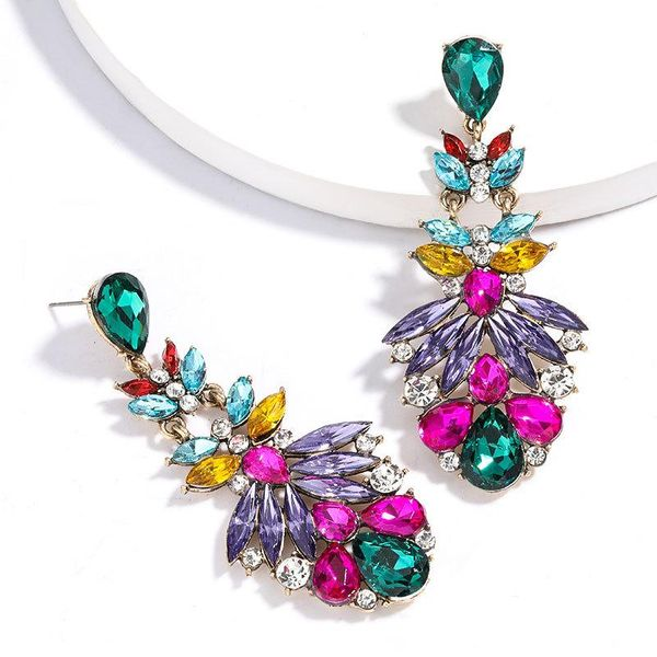 New fashion multi-layer alloy rhinestone diamond earrings wholesale nihaojewelry NHJE212683