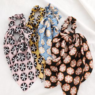 New fashion printing silky streamer cheap scrunchies wholesale NHJE212684's discount tags