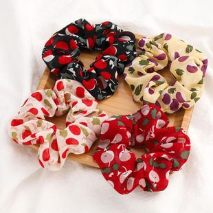 New fashion cherry printed fabric cheap scrunchies wholesale NHJE212688's discount tags